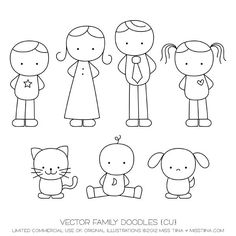 Family Doodles Digital Stamps Clipart Clip Art by MissTiina Doodle Art, Doodle Drawings, Cartoon Drawings, Easy Drawings, Easy People Drawings, Bird Doodle, Drawing Lessons, Art Lessons, Drawing Tips
