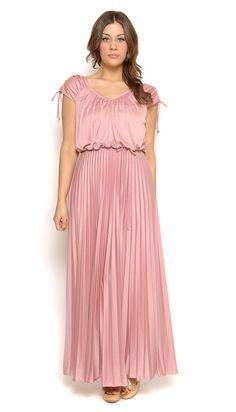 1023ea2998 70s Maxi Dress Pastel Blush Pink Boho Drape Pleated Goddess Gown 1970s  Disco Ethereal V Neck Billowy   Size M Medium