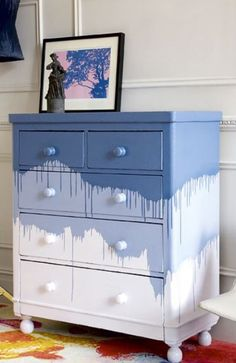 Multicolor paint dripping chest of drawers