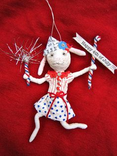 Happy 4th of July Rabbit  A spun cotton by MariePattersonStudio