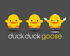 Duck Duck Goose Logo design - This Duck Duck Goose logo depicts what are actually three identical ducks, with the third one attempting to impersonate a goose.  It's a cute, fun logo based on a timeless children's game that would be perfect for any business specializing in children. Price $299.00
