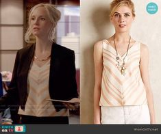 Caroline's orange chevron striped top on The Vampire Diaries.  Outfit Details: http://wornontv.net/52851/ #TheVampireDiaries