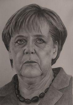 Angela Merkel, retrato a lápiz, pencil drawing portrait, Bleistiftzeichnung