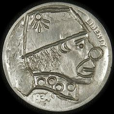 J. ALLEN HOBO NICKEL - CLOWN* - 1934 BUFFALO PROFILE Hobo Nickel, Clowning Around, Buffalo, Classic Style, Coins, Carving, Profile, Personalized Items, Art