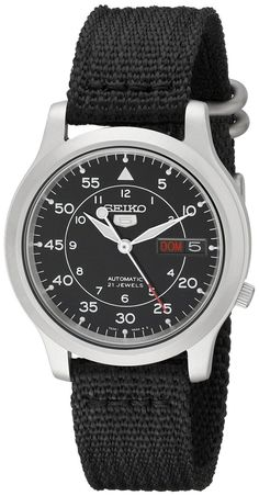 3e06209d076b2b Seiko Men s Snk809 Seiko 5 Automatic Stainless Steel Watch With Black Canvas