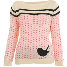 Knitted Cream Bird Jumper (105 BRL) ❤ liked on Polyvore featuring tops, sweaters, shirts, jumpers, blusas, bird sweater, acrylic sweater, pink jumper, miss selfridge and bird print top