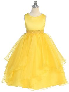 Amazing Yellow Satin and Organza Layered Flower Girl Dress