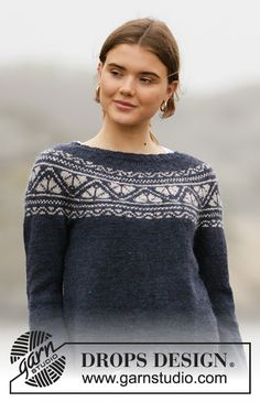 Knitted jumper in DROPS Karisma. The piece is worked top down with round yoke and Nordic pattern on the yoke. Fair Isle Knitting Patterns, Sweater Knitting Patterns, Knitting Stitches, Crochet Patterns, Drops Design, Knitting For Kids, Free Knitting, Crochet Girls, Knit Crochet