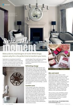 Seize the moment ~ Rebecca Barnes of Hunter White Design explains why now is the perfect time to transform your home... #locallife #Petersfield #Hampshire #interiors #ideas #inspiration #autumn
