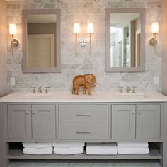 vanity (like design) and want in gray, but would be single sink with cabinet below, 2 drawers to the left and space for towels below.