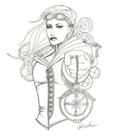 Steampunk Girls Coloring Pages for Adults