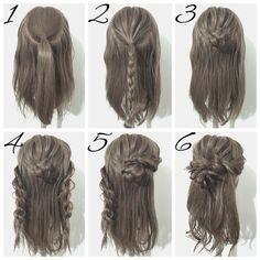 """1,038 Likes, 9 Comments - ヘアアレンジ*YUYA* (@yuya.hair) on Instagram: """"☆簡単ヘアアレンジ☆ 今回は三つ編みとロープ編みで作るお団子ハーフアップです☝️ ①、トップを一本に結び、ほぐします。 ②、①の毛先を三つ編みします。…"""""""