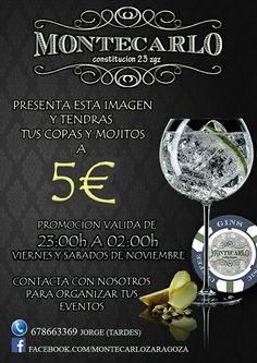 Presentando imagen, #copas (no premium) y #mojitos a 5€ durante todo el mes de #Noviembre , viernes y sábados de 23h a 023h.