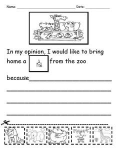 Opinion writing in kindergarten. Which zoo animal would you like to bring home? K.W.1 Free printable!