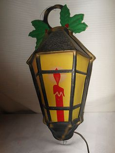 Vintage Christmas Glolite ~ Christmas Lantern w/ Candle & Holly