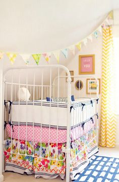 Baby room yellow and pink chevron curtain