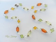 Vintage Translucent Lucite Bead Necklace/1960's Costume Jewelry by PegsVintageShop on Etsy