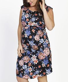 Another great find on #zulily! Black Floral Tie-Back Maternity Cap-Sleeve Dress - Plus Too #zulilyfinds