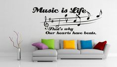 Vinyl Wall Decall Quate Music Is Life That's Why by DeliciousDeals