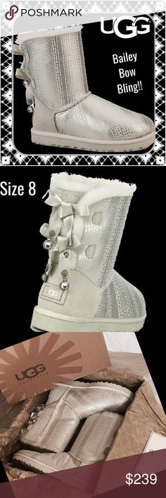 UGG Bailey Bow Bling Boots ~ NIB ~ Winter White 8 Brand NIB are these stunning winter white Bailey Bow Bling boots, size 8.  Extra Swarovski crystals as well.  Retail $300 UGG Shoes Winter & Rain Boots