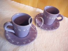pair of ceramic cups for coffee decorate with white hearts (also available set of 6)