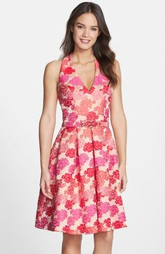 Eliza J Embellished Jacquard Fit & Flare Dress available at #Nordstrom