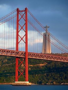 Tejo River bridge, Lisbon, Portugal (Cristo Rei on the background)