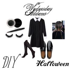 """Wednesday Addams"" by elaine-queipo on Polyvore featuring FitFlop, Hue and Mary Kay"