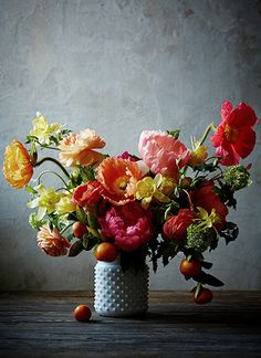 still life with Icelandic poppies... they literally look like an old masters painting...