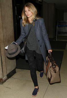 Elizabeth Olsen babe longline blue grey tweed tailored coat grey wool jumper, patterned skinny trousers bl navy blue loafers