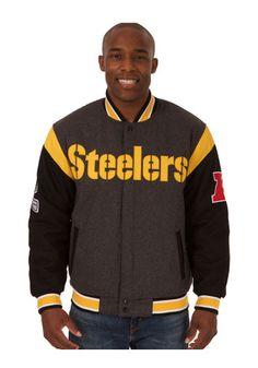 Pitt Steelers Mens Grey Reversible Two-Tone Heavyweight Jacket