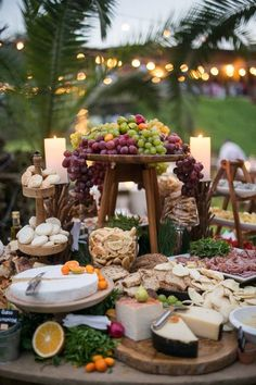 I love this cheese display! This would work great for a smaller wedding/cocktail. I love this cheese display! This would work great for a smaller wedding/cocktail party. Outdoor Cocktail Party, Cocktail Party Decor, Brunch Party Decorations, Engagement Party Decorations, Cocktail Engagement Party, Wedding Brunch Reception, Reception Food, Wedding Receptions, Wedding Menu