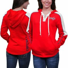 f9a970a5e NHL Reebok Washington Capitals Ladies Lace-Up Pullover Hoodie - Red  (Medium) at Amazon Women s Clothing store  Athletic Sweatshirts