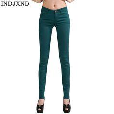 Adelina Women's Skinny Pants Pant Stretch Leg Juniors Jeans Slim Fit Leggings Treggings Buttons Solid Color Denim Pants (Color : Dunkelgrün Size : M) Lässigen Jeans, Casual Jeans, Jeans Style, Jeans Leggings, Casual Outfits, Trousers Women, Pants For Women, Clothes For Women, Jeans Women
