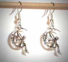 Ohrringe Elfe Mond Edelstahl Ohrhänger Tibetan Silber Modeschmuck Damen Ohrschmuck Neuware
