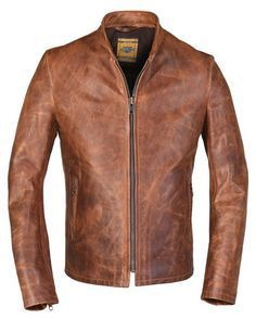 Schott 571 cafe racer, unlined heavy oiled and waxed pullup cowhide. Brown Leather Jacket Men, Best Leather Jackets, Leather Men, Stylish Jackets, Cool Jackets, Men's Jackets, Casual Jackets, Stylish Men, Cafe Racer Jacket