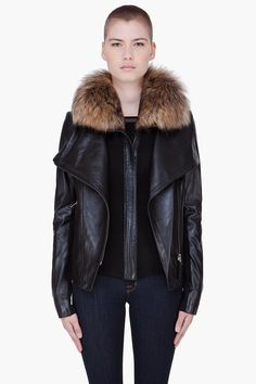 MACKAGE // BLACK LEATHER RACCOON FUR COLLAR TWO PIECE JACKET