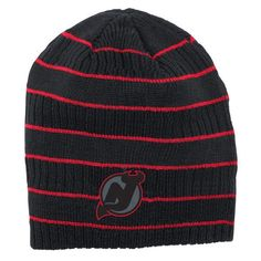 New Jersey Devils Reebok Cross Check Cuffless Knit Beanie - Black