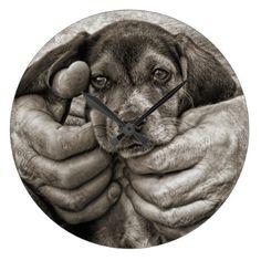 My Buddy Beagle Puppy Photographic Art Large Clock - cyo diy customize unique design gift idea