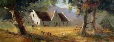 Artwork of Tony de Freitas exhibited at Robertson Art Gallery. Original art of more than 60 top South African Artists - Since Farmhouse Artwork, Tree Artwork, Acrylic Artwork, South African Artists, Old Farm Houses, Landscape Artwork, Holland, Cape Dutch, Original Art