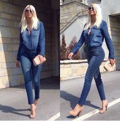 Double denim and nude azzedinealaia shoes
