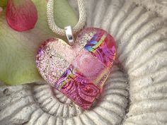 Pink Heart Necklace - - Fused Glass Jewelry - Dichroic Jewelry - Pink Heart Necklace 101412p109. $28.00, via Etsy.