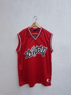 5192013f2d5 Vintage 90s DC Shoe Co USA Skateboarding Embroidered Nets Sportswear Tank  Tops Jersey Size XL