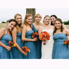 Bridesmaids wore J.Crew dresses and carried bouquets of calla lilies and bear grass. Photo: Lisa Berry.