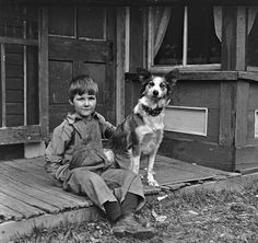 Boy with His dog. Vermont. 1917.
