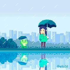 — eto2d:    Rainy Day, a pixel art postcard.    ...