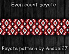 Even Count Peyote Pattern #33 - simple peyote bracelet pattern - red, white and black