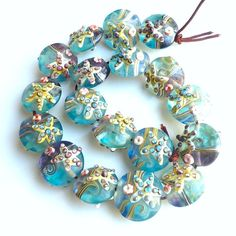 Seaside Beach art Sky blue lampwork focal bead Seaglass Gray blue blass bead Organic Style Handmade jewellery supplies Single bead