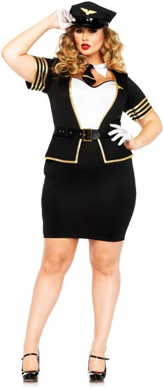 Sexy Mile High Flight Attendant Pilot & Stewardess Costume Adult Women Plus Size in Clothing, Shoes & Accessories, Costumes, Reenactment, Theater, Costumes | eBay