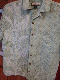 TOMMY BAHAMA Mens Camp Shirt SMALL S Hawaiian Green S/S SILK Linen HaWaIi #TommyBahama #Hawaiian